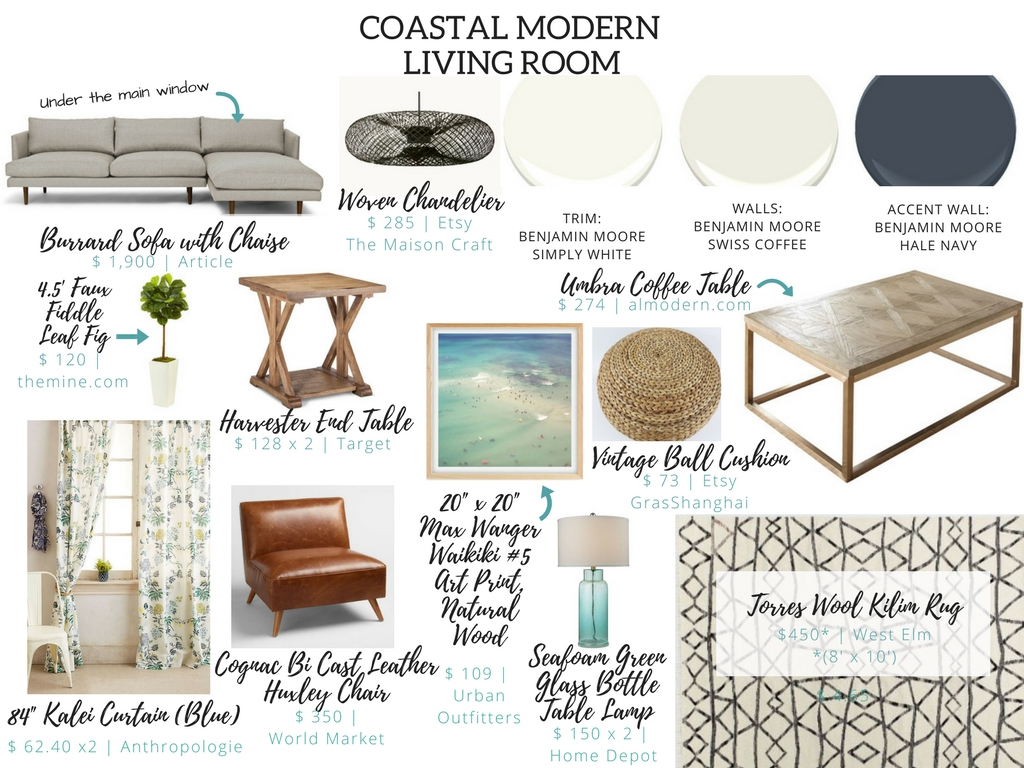 Coastal Modern Living Room edesign Nest Out West e-design nestoutwest nest.out.west