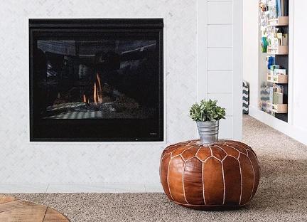 modern farmhouse white and wood shiplap fireplace