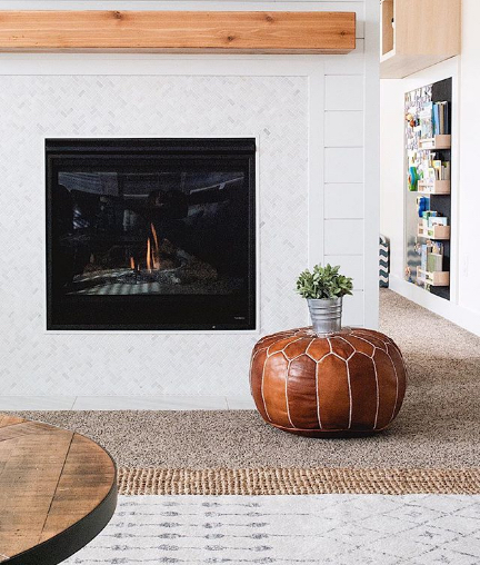 modern farmhouse white and wood shiplap fireplace