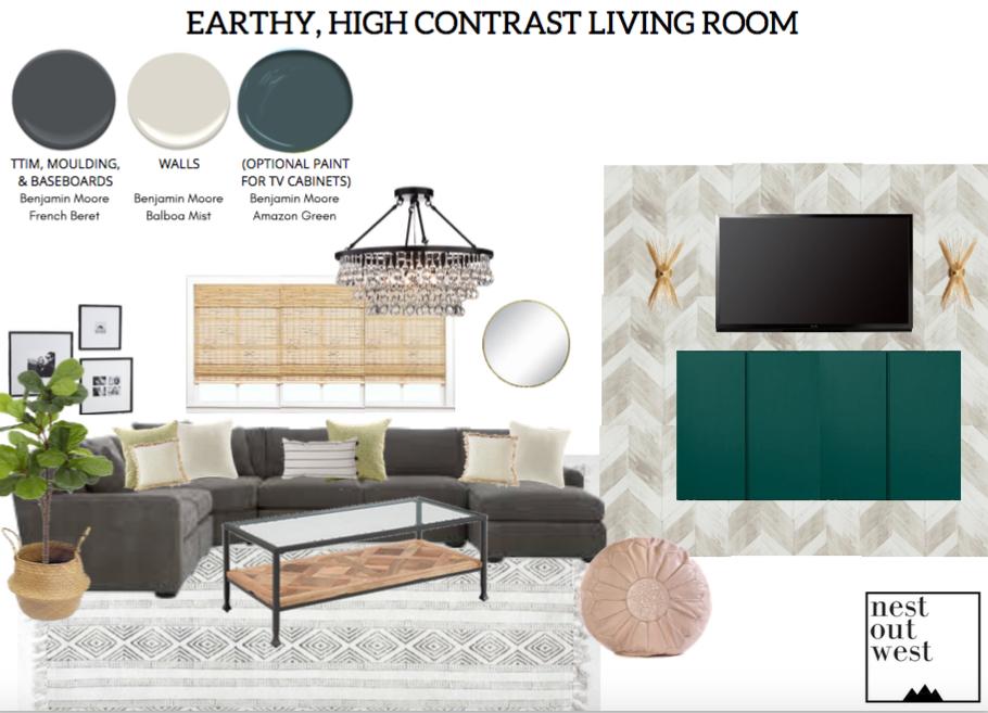 Earthy, High-Contrast Living Room