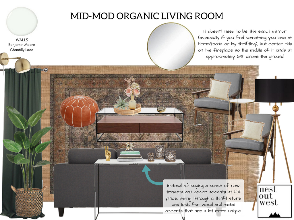 Earthy Mid-Mod Living Room