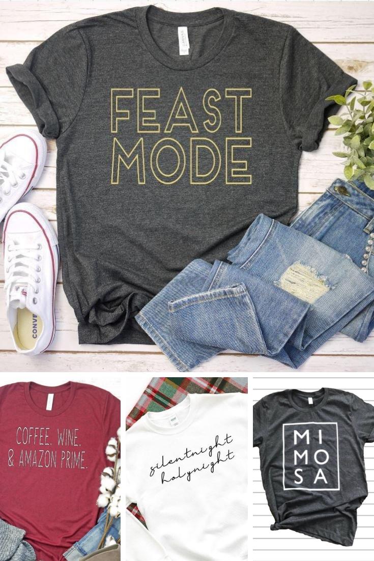 Seasonal t-shirts, christmas, thanksgiving, gifts